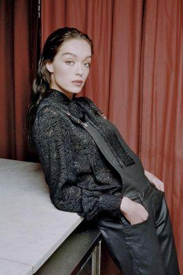Salopette Ali en jeans noir enduit