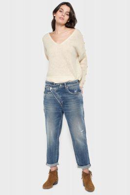 Cosy boyfit destroy jeans bleu N°4