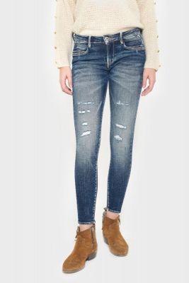 Tiapa power skinny 7/8ème jeans destroy vintage bleu N°2