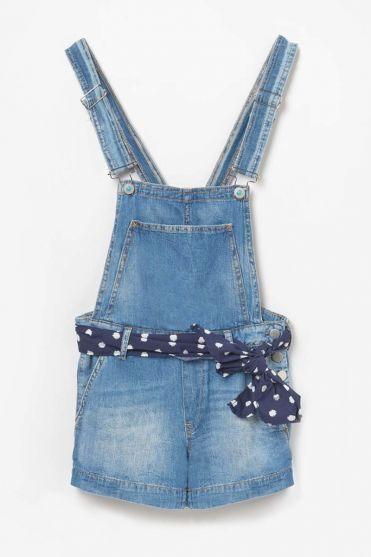 Salopette short Banks en jeans bleue