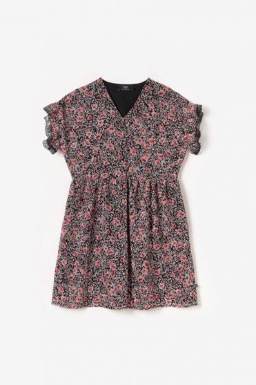 Robe Angiegi à motif fleuri rose