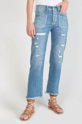 Pricilia taille haute 7/8ème jeans destroy bleu N°4