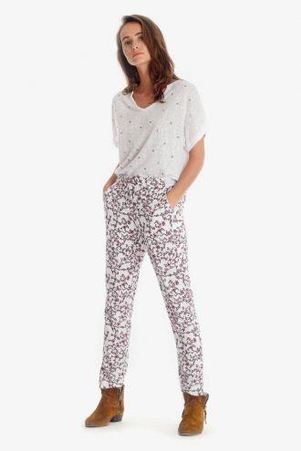 Pantalon Sally blanc à motif floral