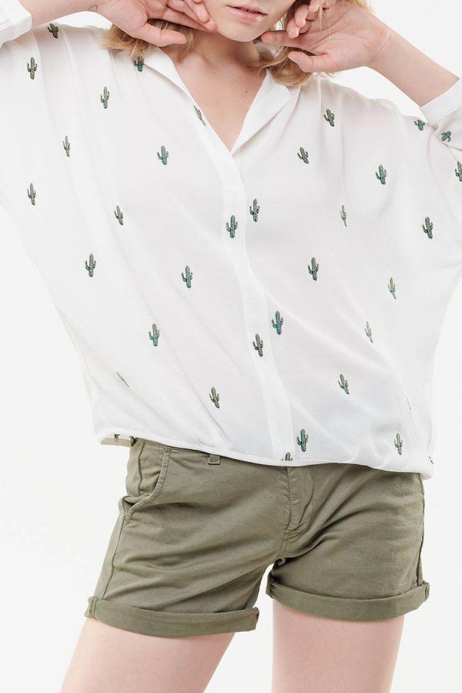 Blouse Spiky Crème Cactus vert