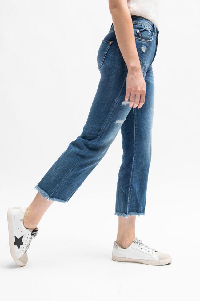 Jeans regular taille haute court Precious destroy bleu N°3