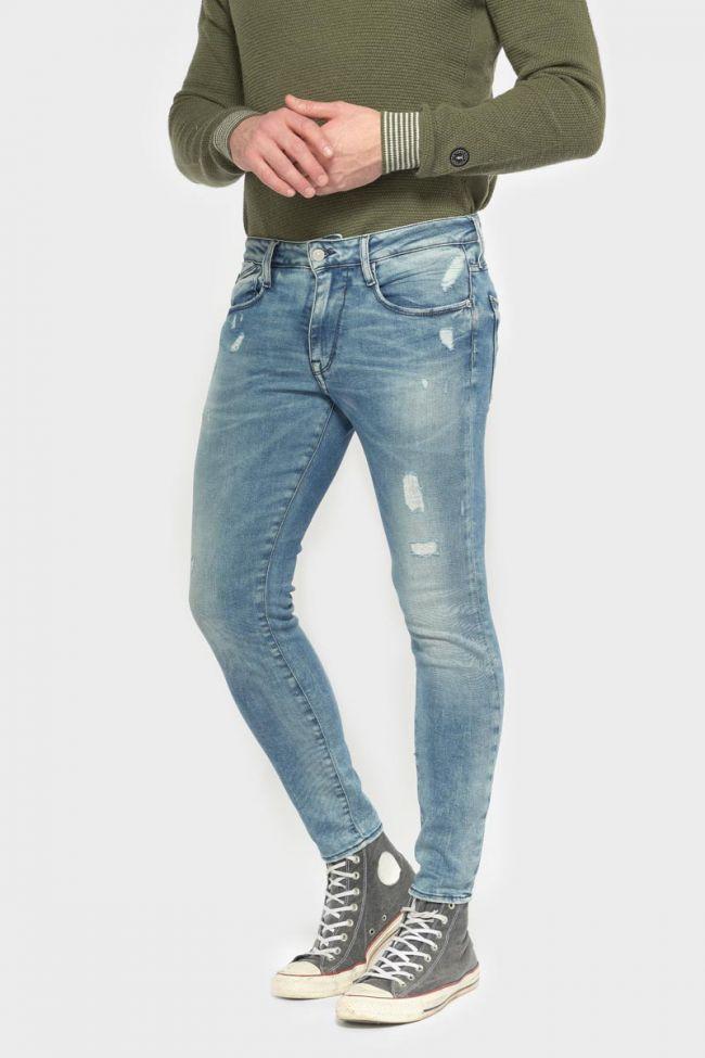 Power skinny 7/8ème jeans destroy bleu N°4