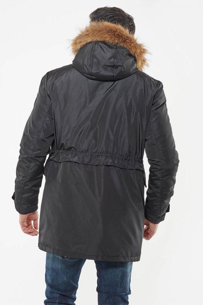 Clovis black parka with real fur