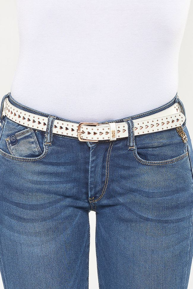 White heart leather belt