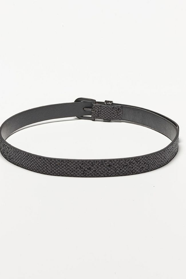 Pailful belt in black leather