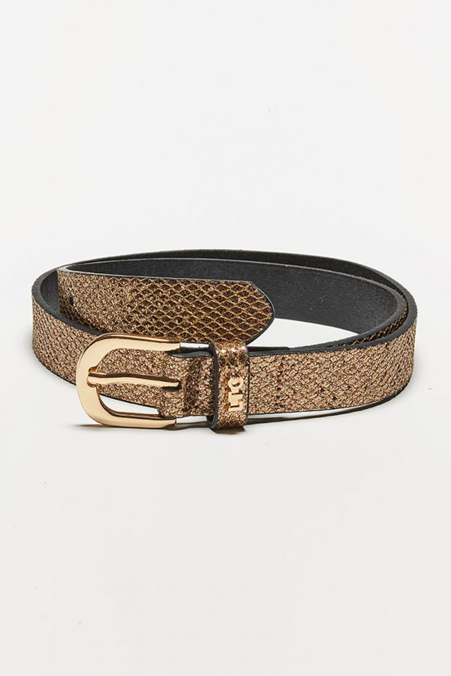 Pailful belt in golden leather