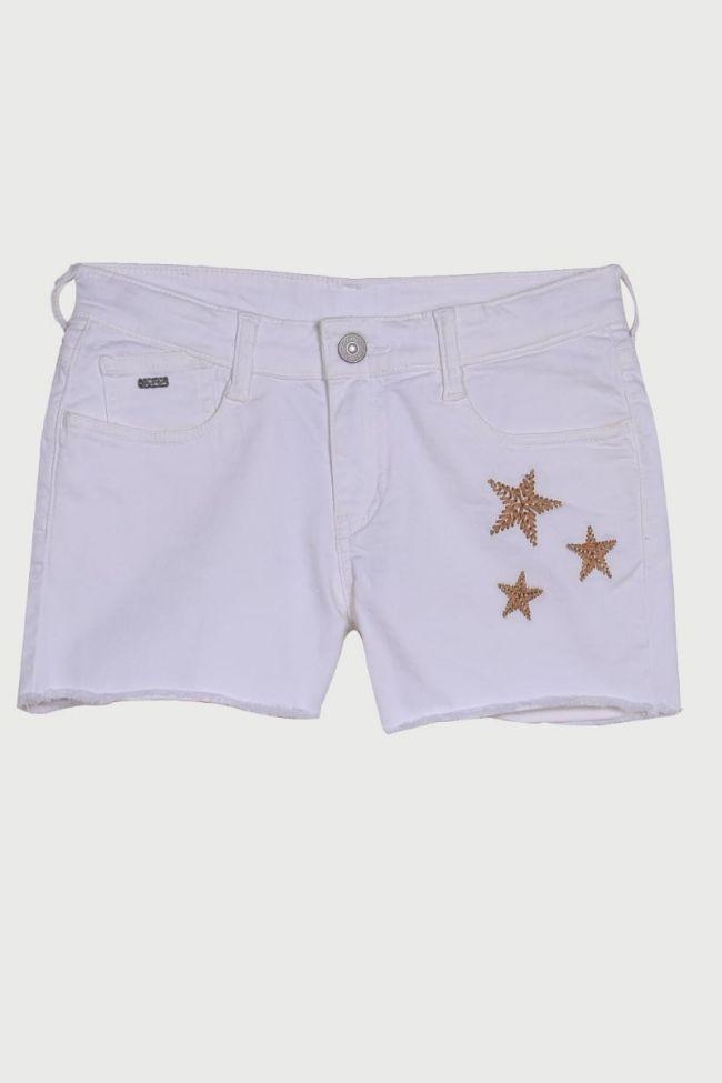 Short en jeans Megan blanc
