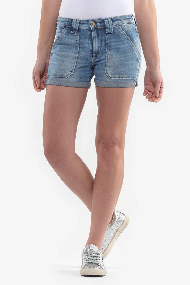 Bloom blue washed denim shorts