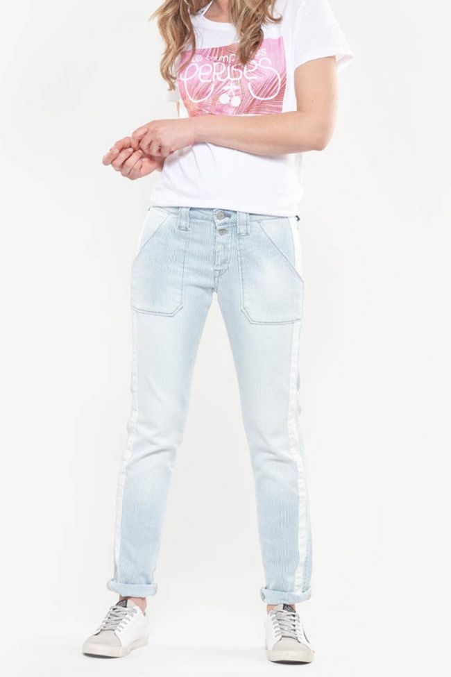 Jeans 200/43 boyfit Georgia bleu et blanc