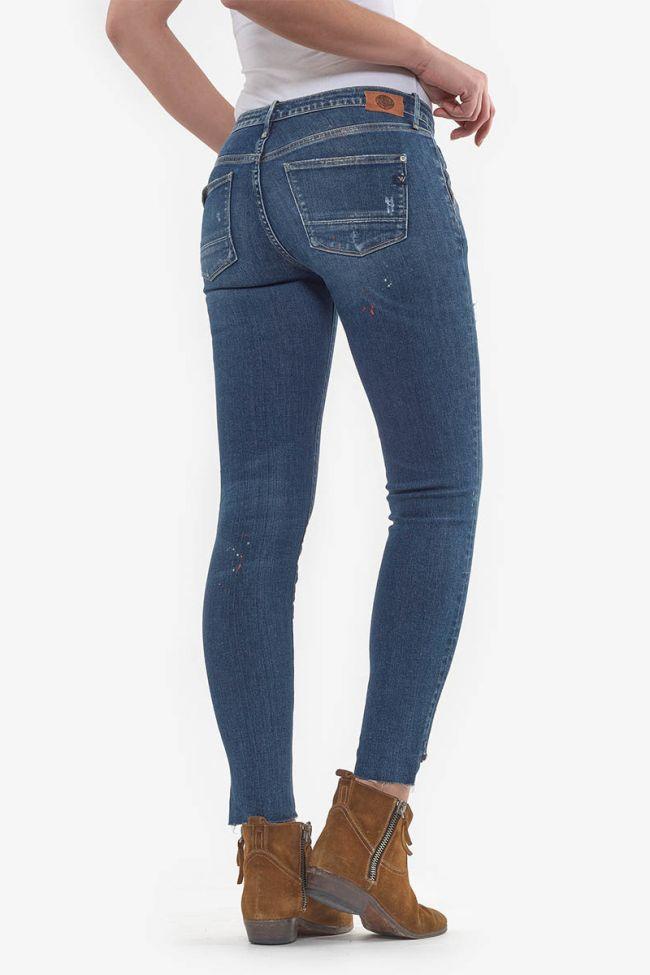 Jeans power skinny Nashi 7/8ème destroy bleu N°2