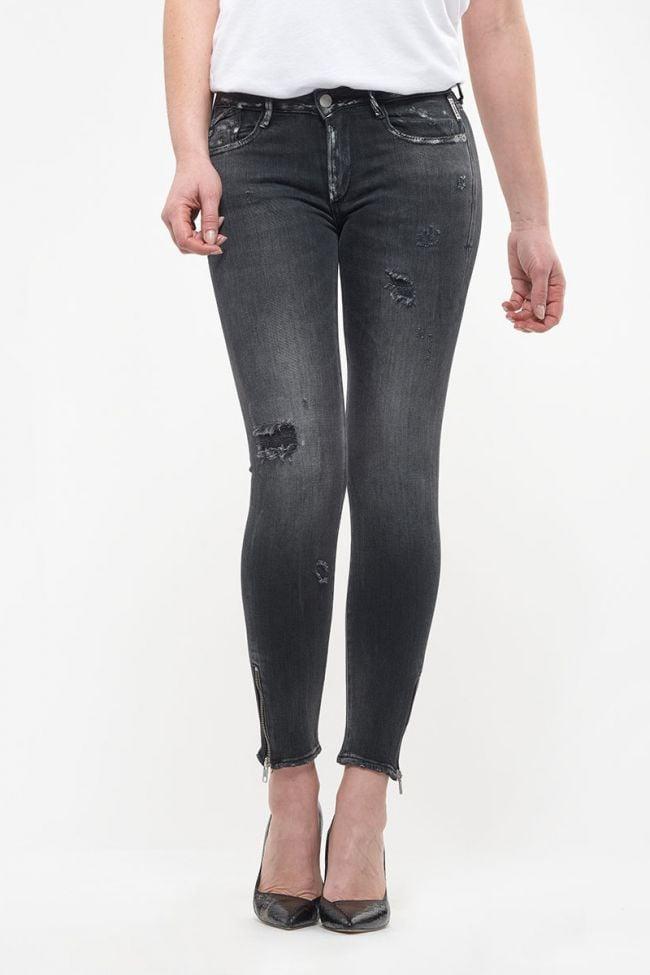 Jeans power skinny 7/8ème Oslo destroy noir N°1