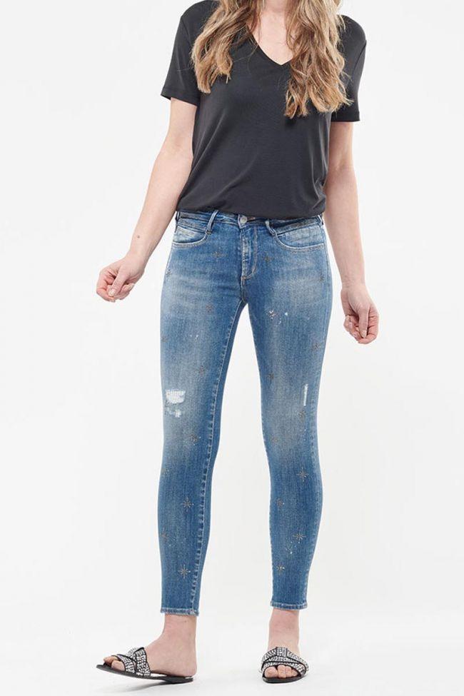 Jeans power skinny 7/8ème Seoul destroy avec strass bleu N°4