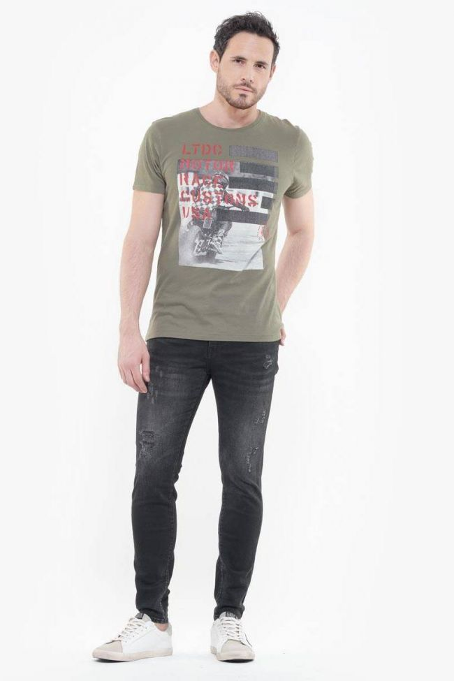 Power skinny 7/8ème jeans destroy noir N°1