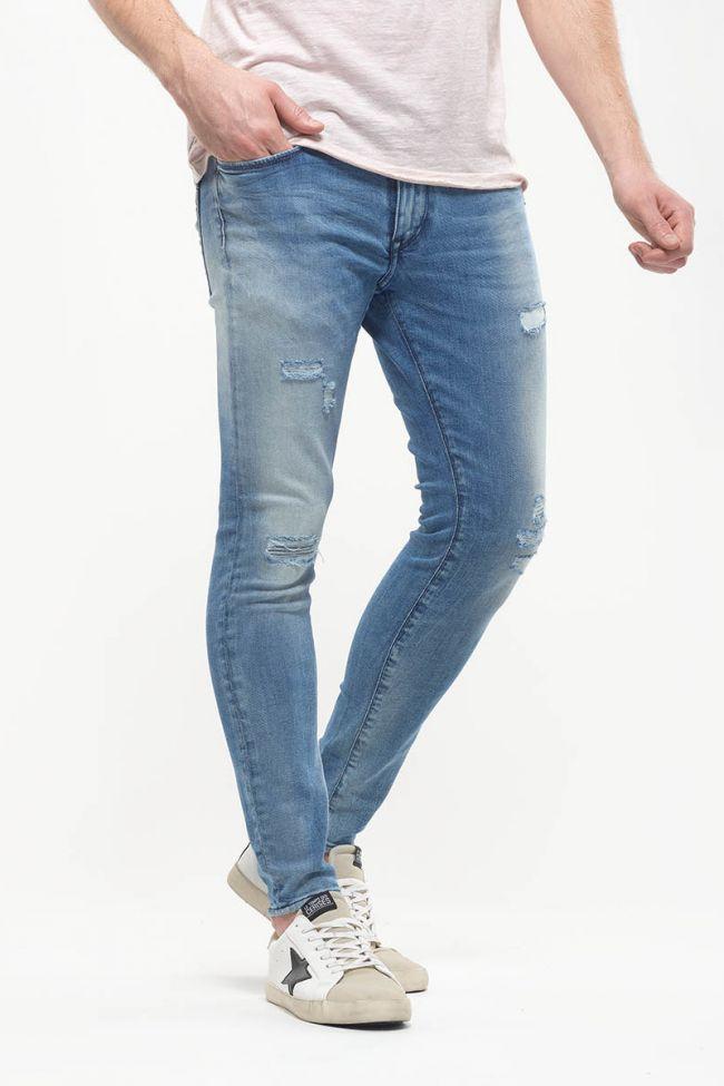Jeans Power skinny 7/8ème destroy bleu N°4