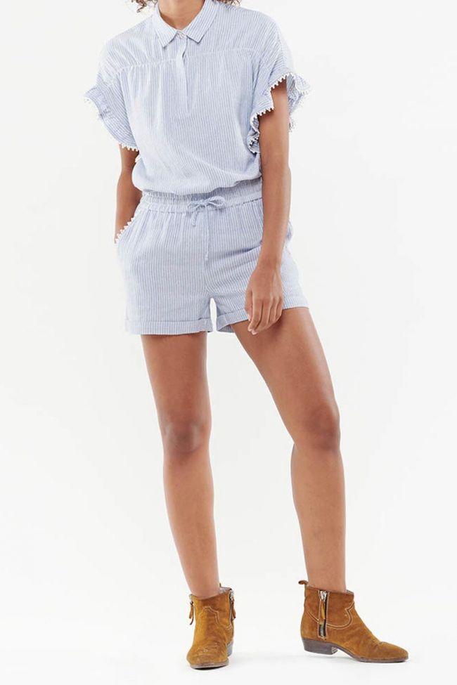 Short en lin mélangé Zora Bleu