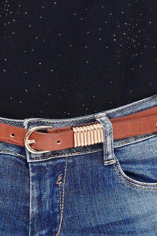 Brown leather Célia belt