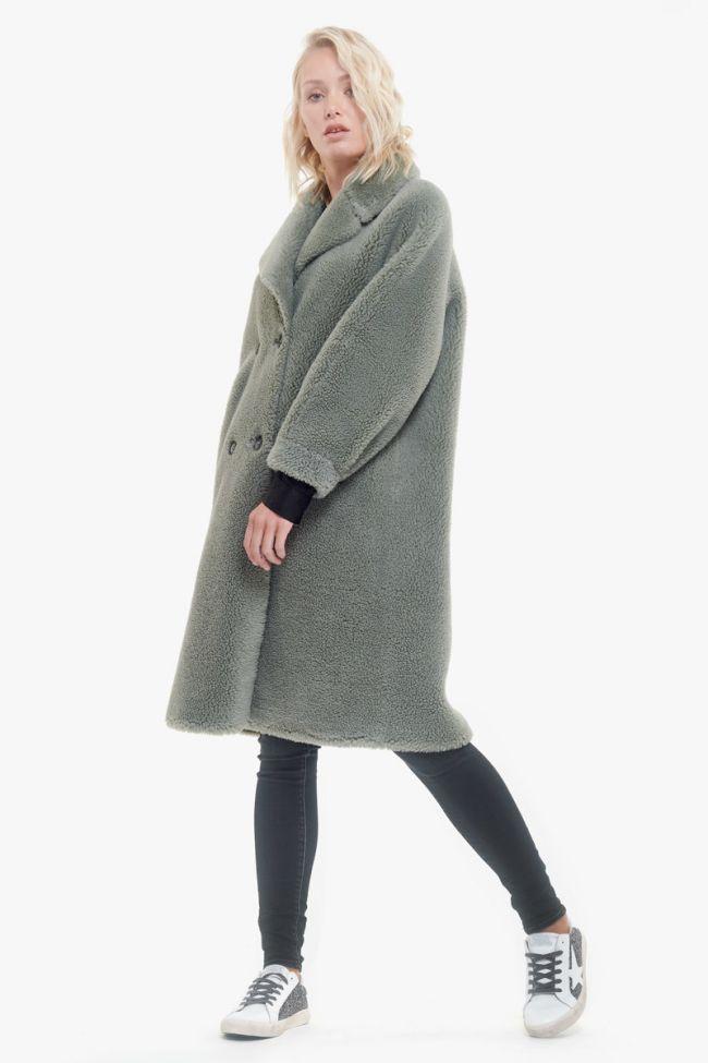 Manteau réversible en laine mélangée Igor vert d'eau