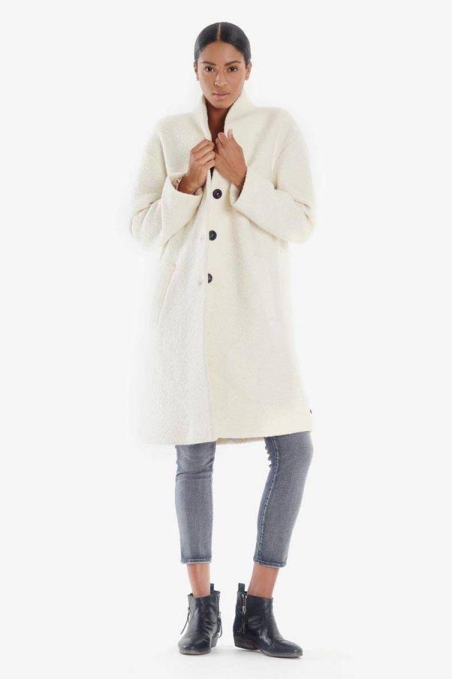 Ecru Pekin mixed wool coat
