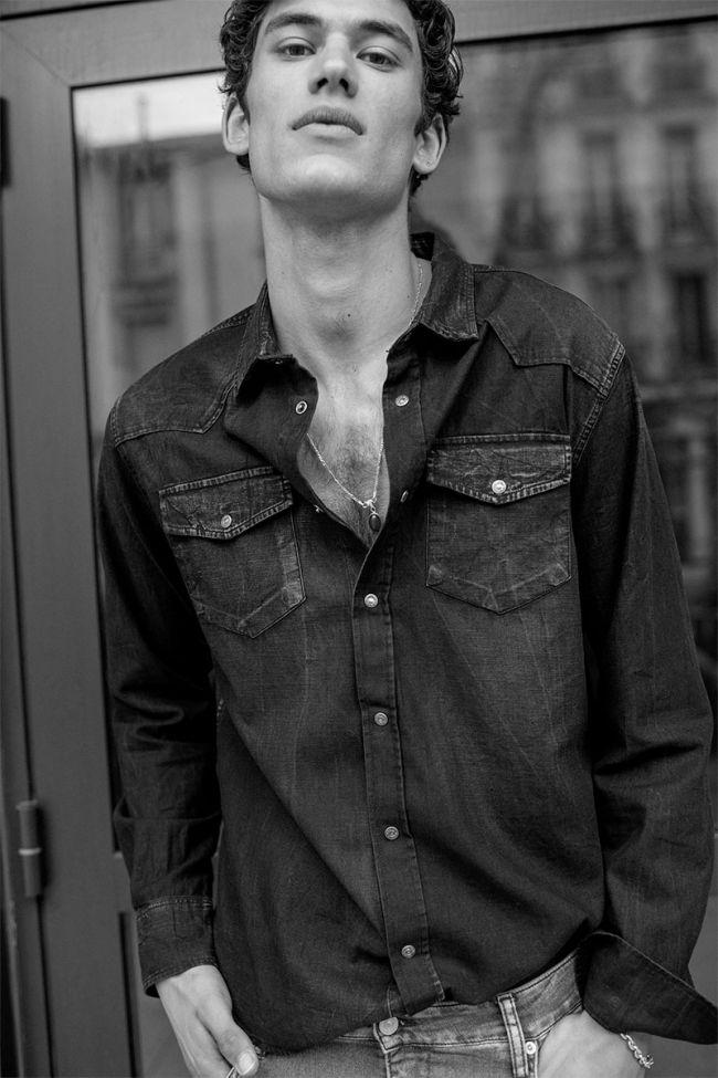 Chemise Juanito en jeans noir délavée