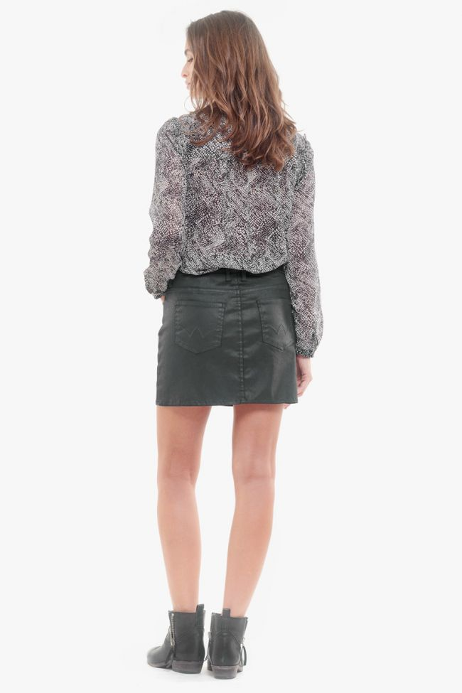Black Pika waxed denim skirt