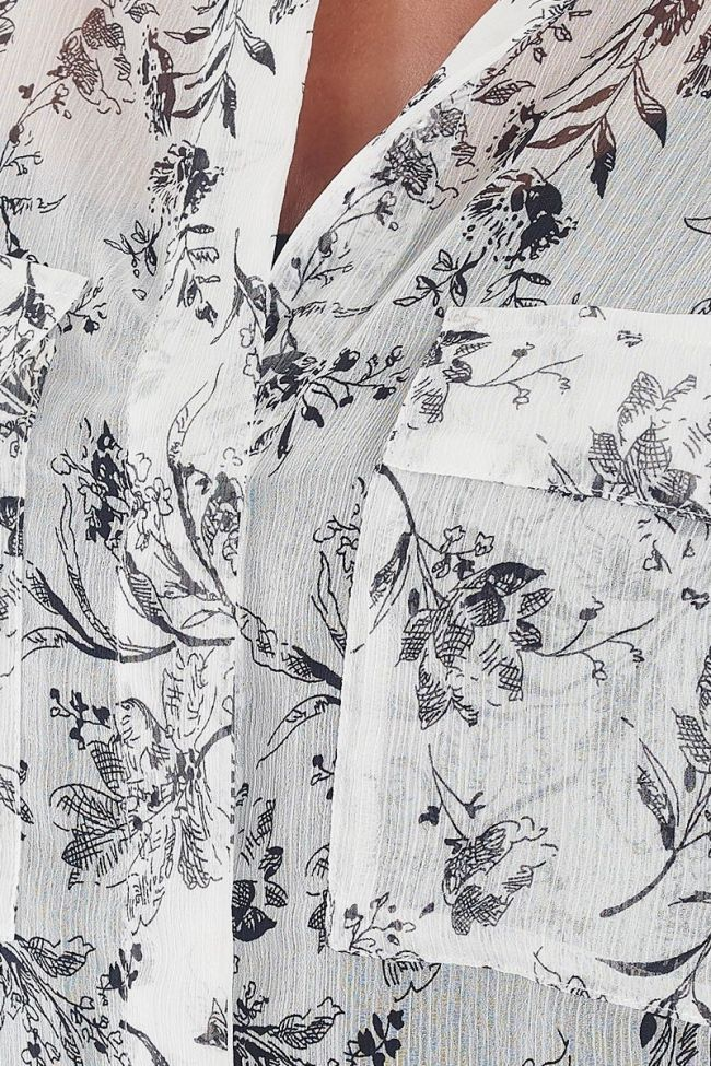 Abou white shirt with floral pattern
