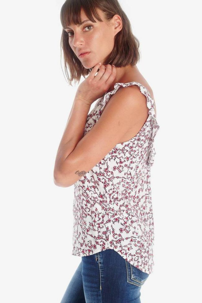 Top Aleksa blanc à motif floral