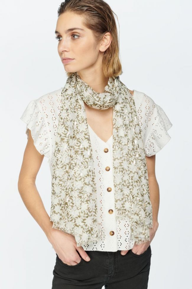 Khaki flower pattern Antes scarf