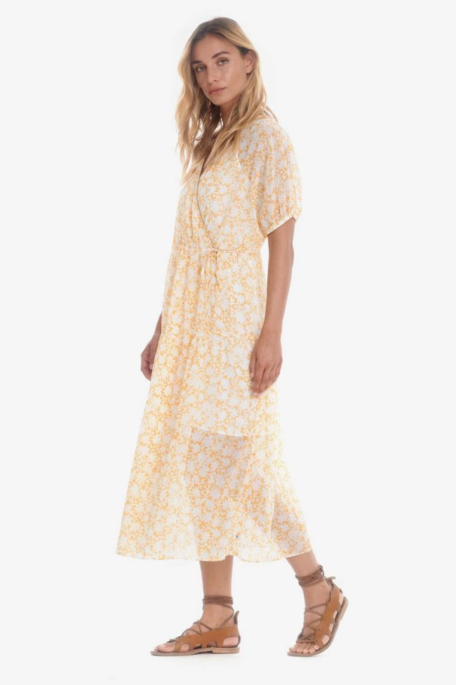 Long Bilbao dress with yellow floral pattern