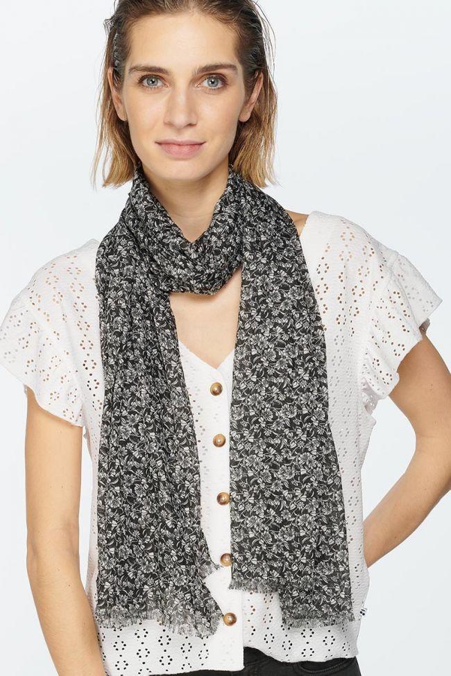 Black flower pattern Dias scarf