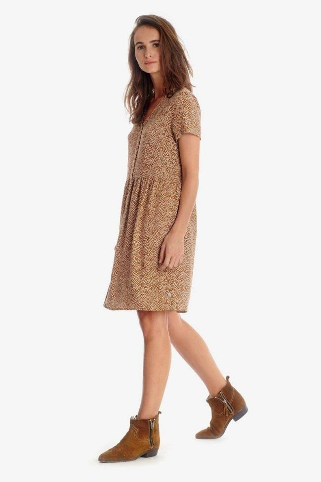 Isae brown dress with ethnic pattern