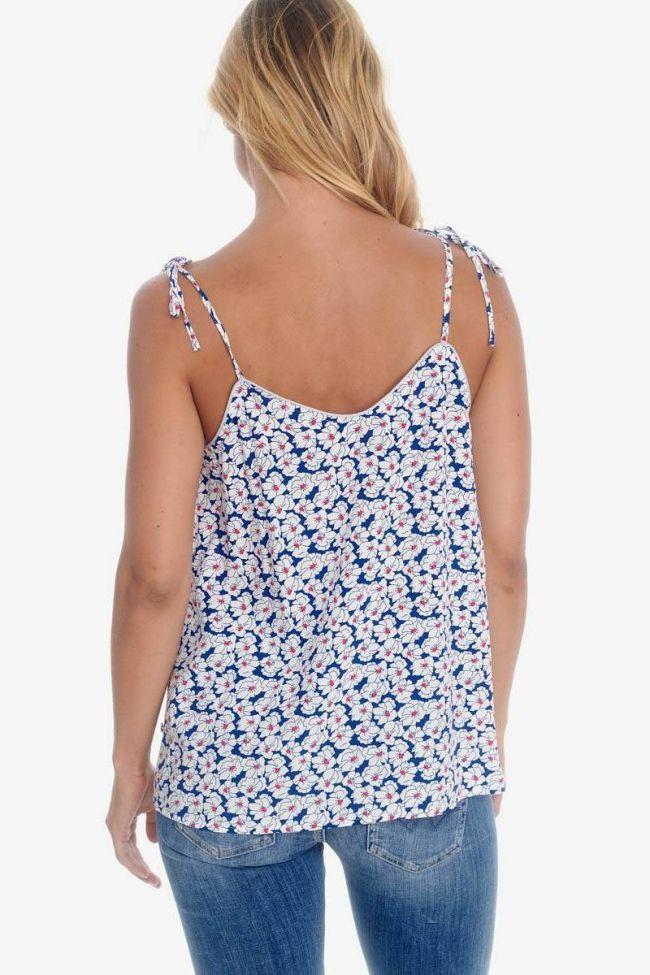 Débardeur Melilla à motif floral bleu et blanc