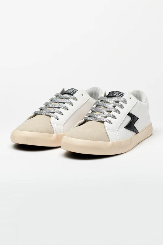 White Soho sneakers with black lightning flash