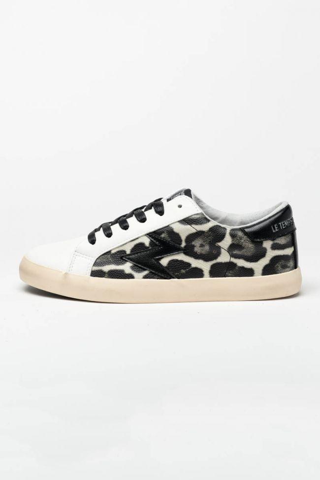 Baskets Soho à motif léopard noir et blanc