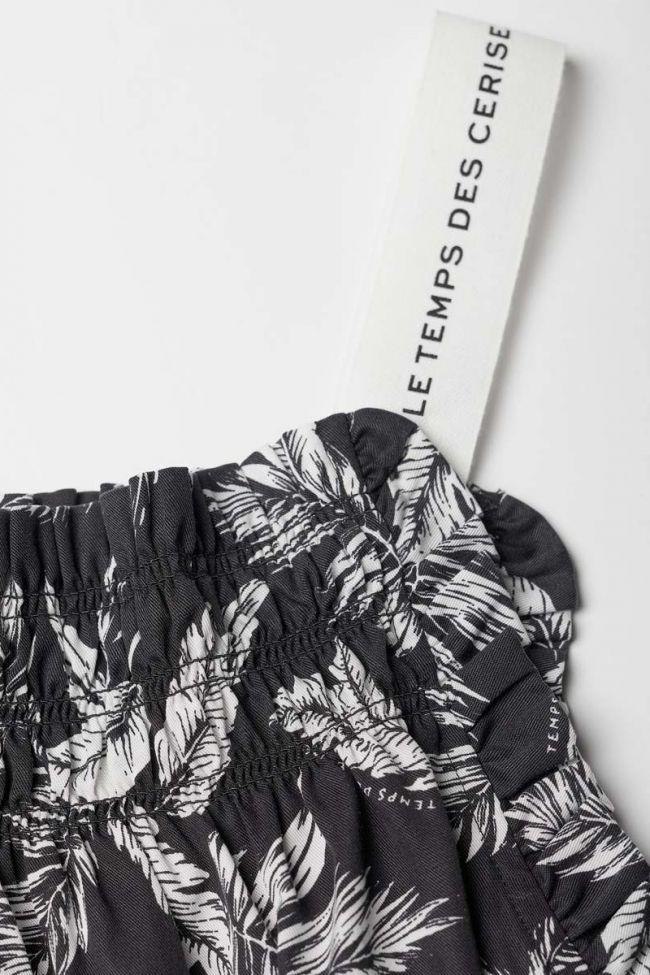 Top Pierrogi noir à motif feuilles