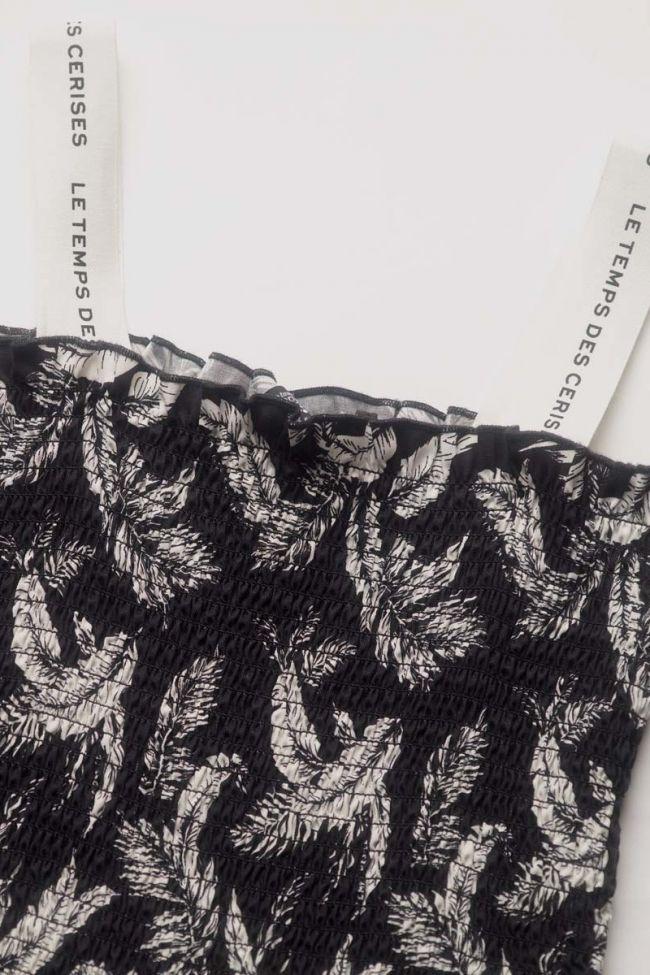 Robe Tildagi noire à motif feuilles