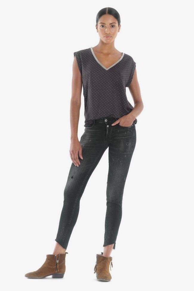 Alais pulp slim 7/8th jeans destroy black N°1