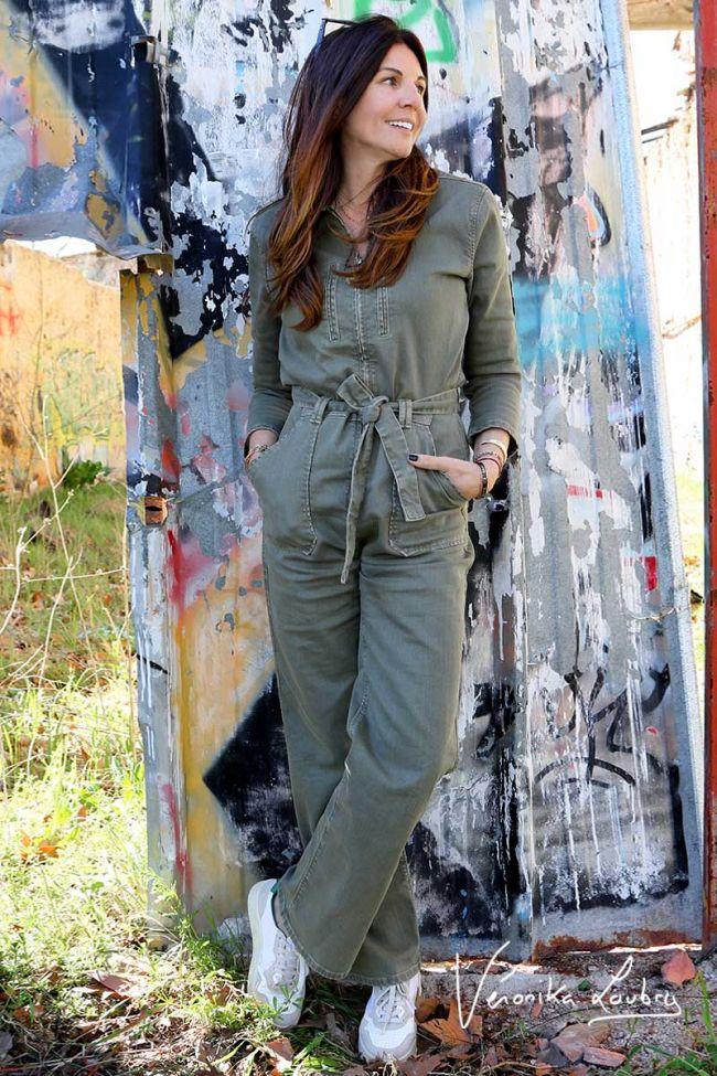 Combinaison pantalon Lucette kaki by Véronika Loubry