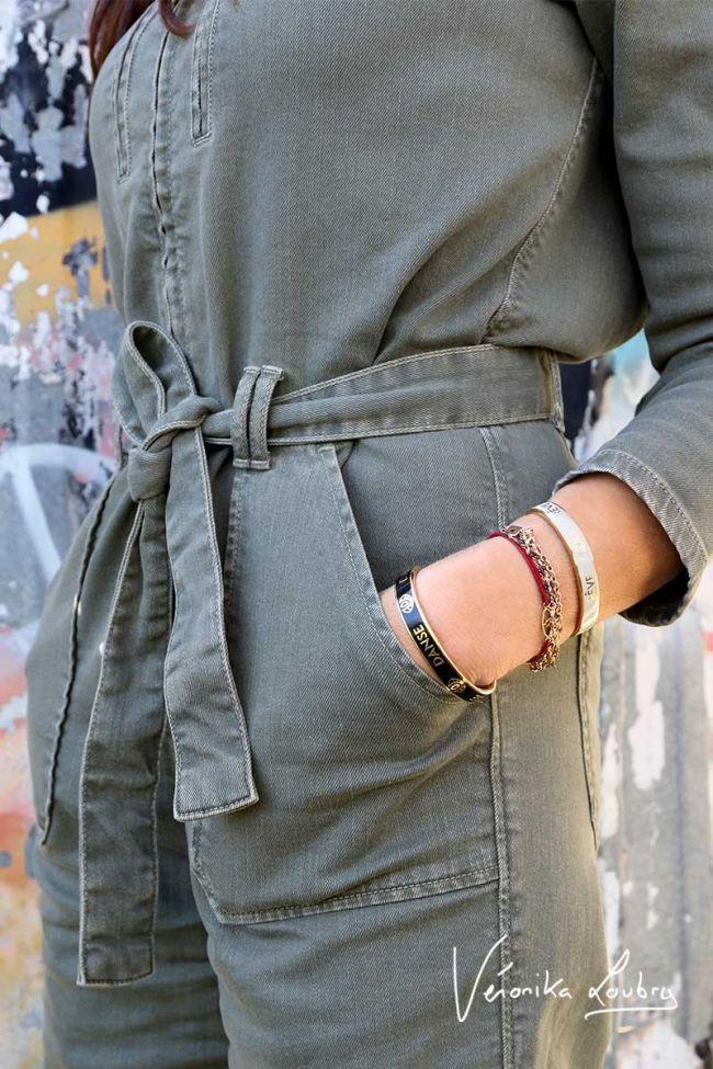 Khaki Lucette jumpsuit by Véronika Loubry