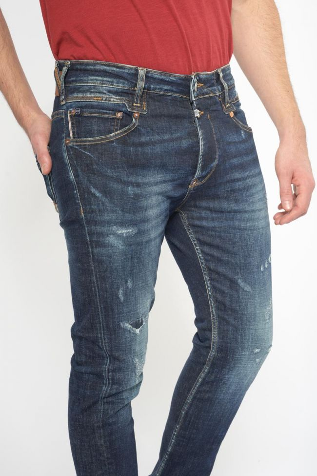 Raffi 900/16 tapered 7/8ème jeans destroy bleu-noir N°2