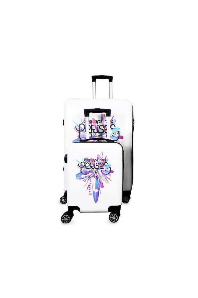 Set de 2 valises Saya Plume blanches extensibles