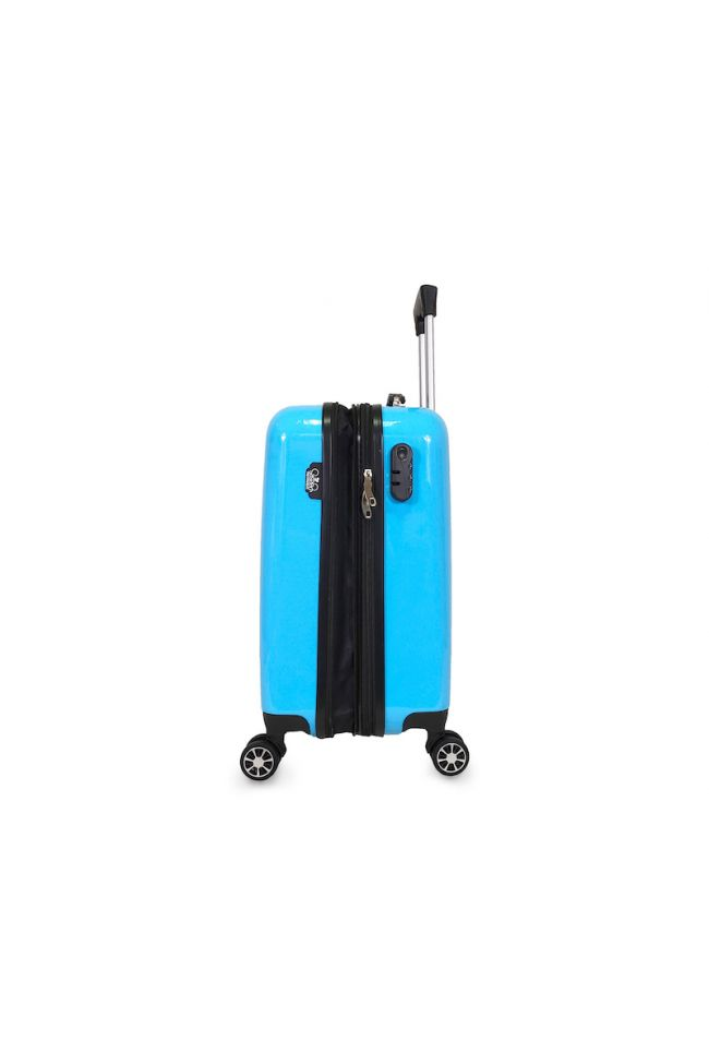 Set de 3 valises Saya Plume bleues extensibles