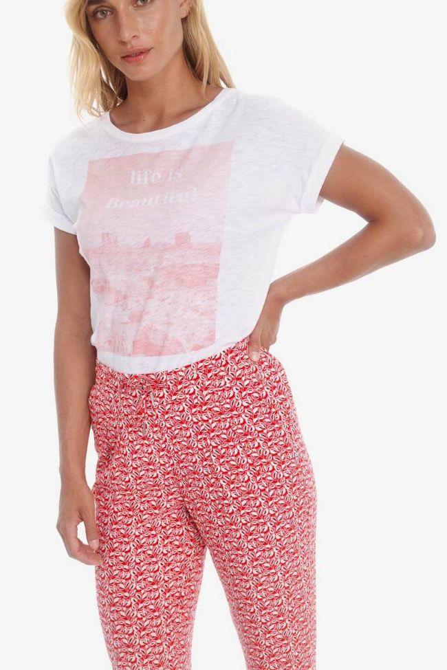 Pantalon Burgos rouge à motif feuilles