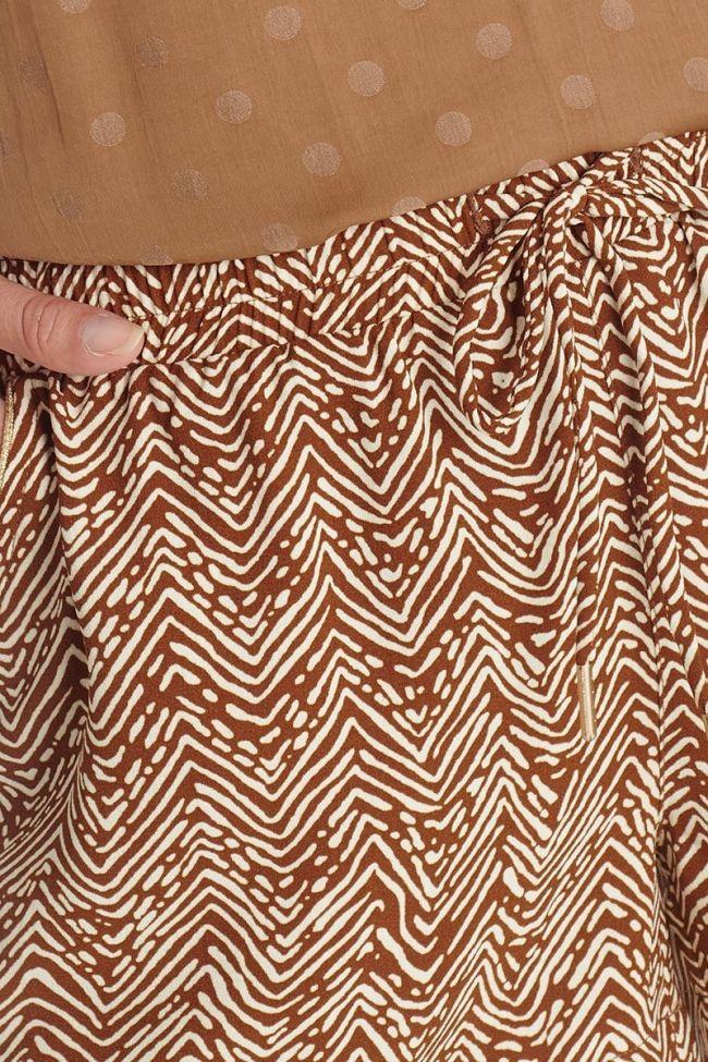 Short Calvi marron à motif ethnique
