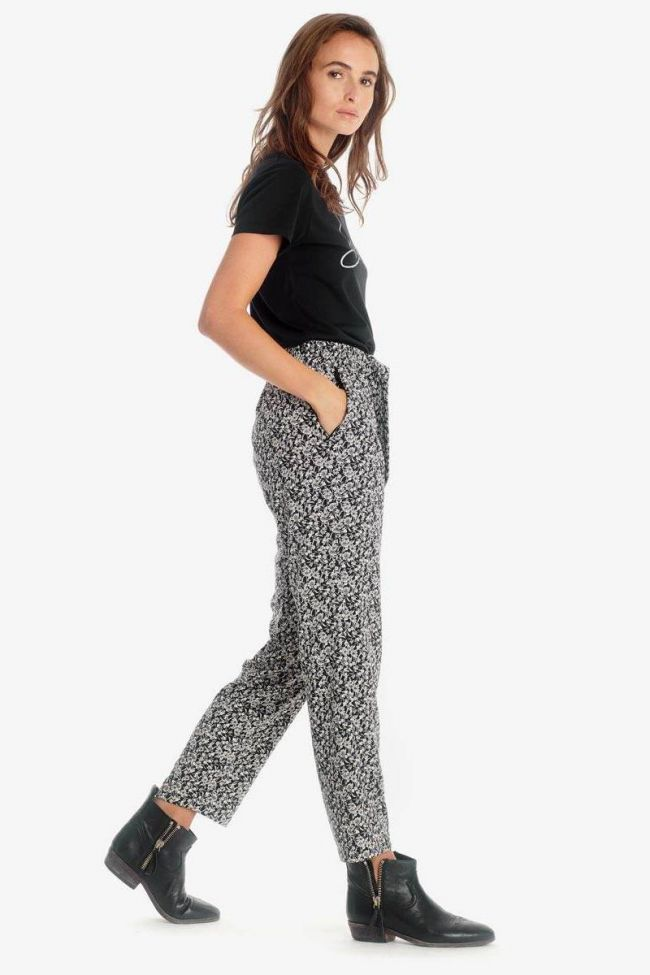 Black floral pattern Farrow trousers