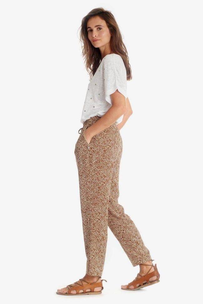 Pantalon Jackie marron à motif ethnique