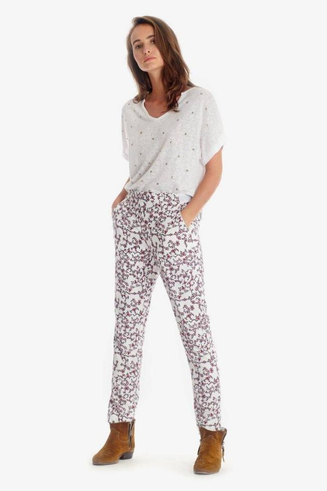 White floral pattern Sally trousers